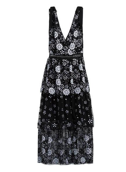 self-portrait Kleid mit Paillettenbesatz, Farbe: SCHWARZ/ WEISS (Bild 1)