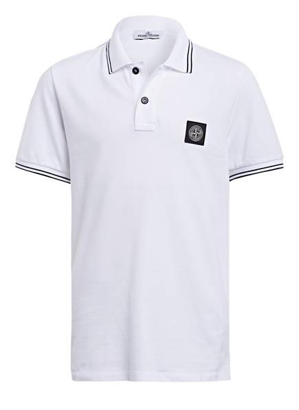 STONE ISLAND JUNIOR Piqué-Poloshirt, Farbe: WEISS (Bild 1)