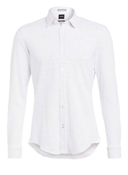 BOSS Piqué-Hemd RONNI Slim Fit, Farbe: WEISS/ DUNKELBLAU GEPUNKTET (Bild 1)