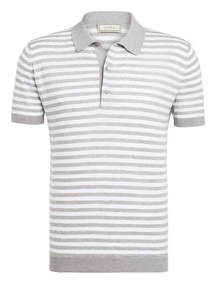 CHAS Strick-Poloshirt, Farbe: HELGRAU/ WEISS GESTREIFT (Bild 1)