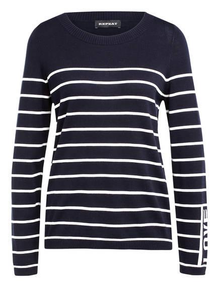 REPEAT Pullover, Farbe: DUNKELBLAU/ WEISS GESTREIFT (Bild 1)