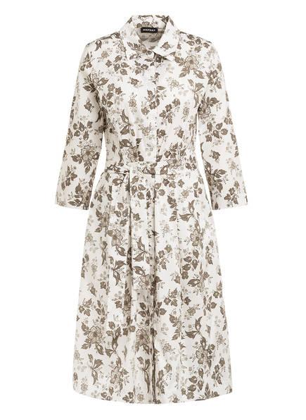REPEAT Hemdblusenkleid mit 3/4-Arm, Farbe: WEISS/ KHAKI (Bild 1)