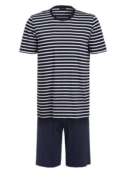 HANRO Shorty-Schlafanzug, Farbe: DUNKELBLAU/ WEISS GESTREIFT (Bild 1)