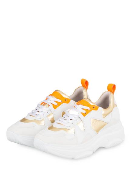 KENNEL & SCHMENGER Plateau-Sneaker, Farbe: WEISS/ GOLD/ NEONORANGE (Bild 1)