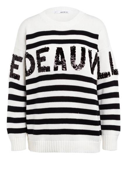 SEM PER LEI Pullover mit Paillettenbesatz, Farbe: WEISS/ SCHWARZ (Bild 1)