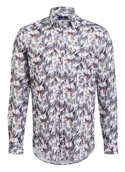 STROKESMAN'S Hemd Modern Fit mit Leinen, Farbe: HELLGRAU/ DUNKELGRAU/ HELLBRAUN (Bild 1)