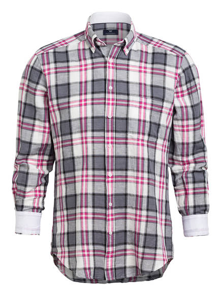 STROKESMAN'S Hemd Modern Fit mit Leinen, Farbe: GRAU/ PINK KARIERT (Bild 1)