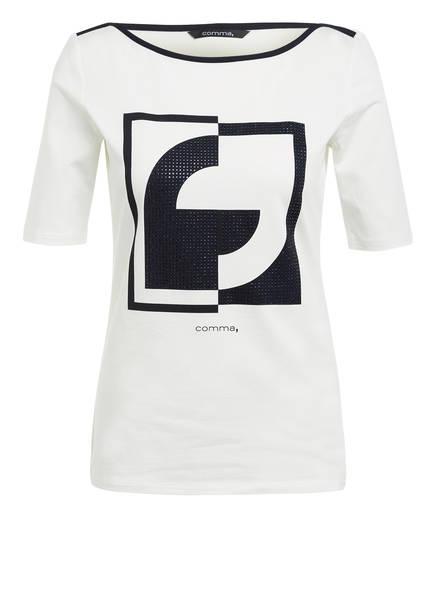 comma T-Shirt mit Schmucksteinbesatz, Farbe: WEISS/ DUNKELBLAU (Bild 1)