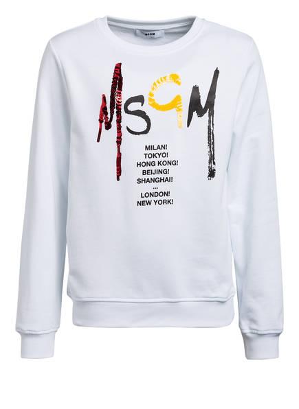 MSGM KIDS Sweatshirt mit Paillettenbesatz, Farbe: WEISS (Bild 1)