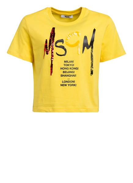 MSGM KIDS T-Shirt mit Paillettenbesatz, Farbe: GELB (Bild 1)