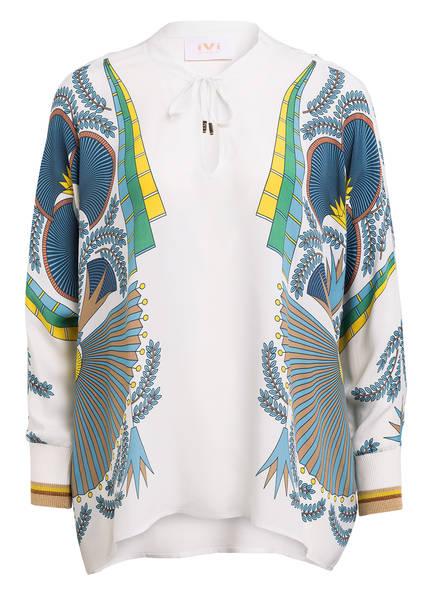 IVI collection Oversized-Blusenshirt PROVENCE mit Seide , Farbe: ECRU/ BLAU (Bild 1)