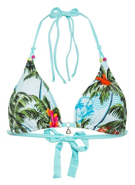 BANANA MOON Triangel-Bikini-Top YERO CARRIBBEAN , Farbe: TÜRKIS/ GRÜN/ PINK (Bild 1)