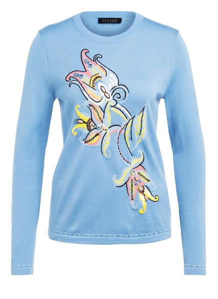 ESCADA Pullover SASKIAR mit Schmucksteinbesatz, Farbe: HELLBLAU (Bild 1)