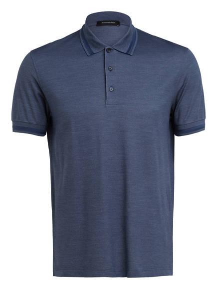 Ermenegildo Zegna Piqué-Poloshirt mit Seide, Farbe: BLAU MELIERT (Bild 1)