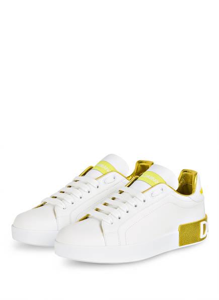 DOLCE&GABBANA Sneaker PORTOFINO, Farbe: WEISS/ GELB (Bild 1)