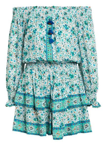 Poupette St Barth Off-Shoulder-Kleid SYLVIA, Farbe: GRÜN/ ORANGE/ WEISS (Bild 1)