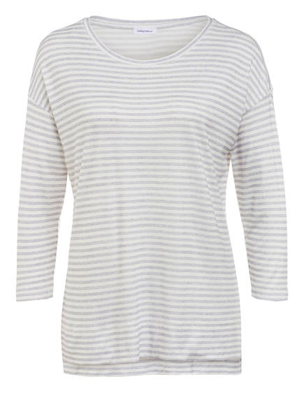 DARLING HARBOUR Schlafshirt mit 3/4-Arm, Farbe: WEISS/ GRAU GESTREIFT (Bild 1)