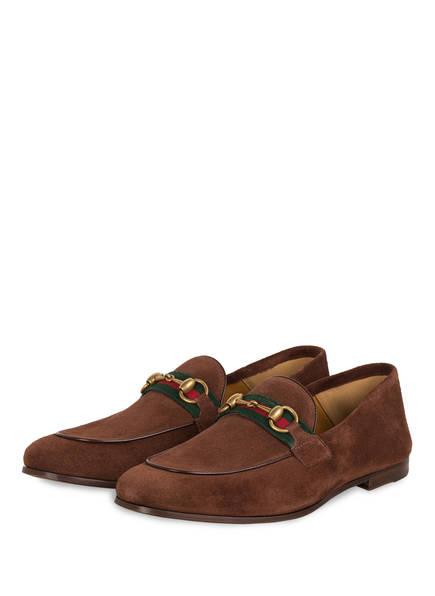 GUCCI Loafer BRIXTON mit flexibler Fersenpartie, Farbe: BROWN (Bild 1)
