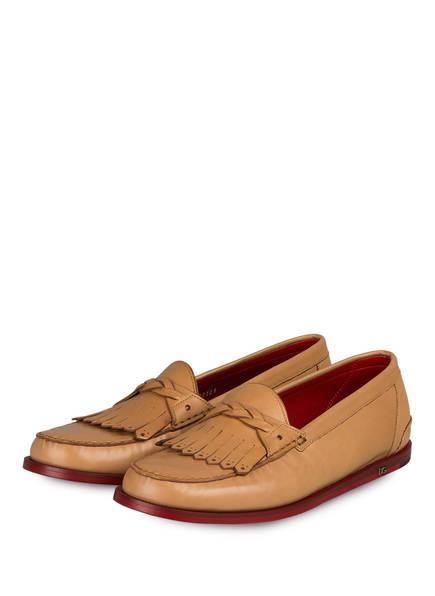 DOLCE&GABBANA Loafer, Farbe: HELLBRAUN/ ROT (Bild 1)