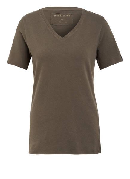 TRUE RELIGION T-Shirt mit Leinen, Farbe: OLIVE (Bild 1)