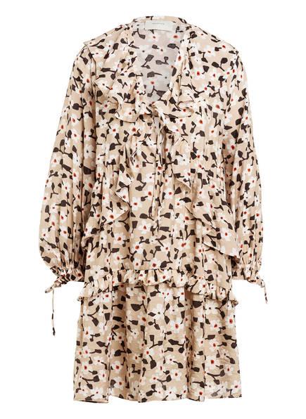 MUNTHE Kleid UVIRA mit Volantbesatz, Farbe: BEIGE/ SCHWARZ/ WEISS (Bild 1)