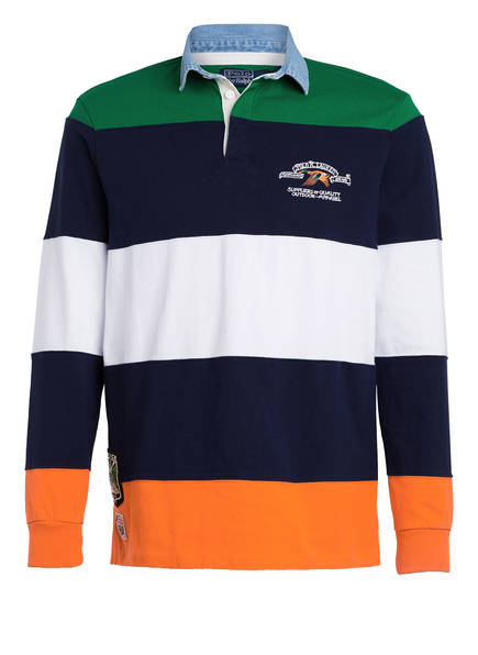 POLO RALPH LAUREN Jersey-Poloshirt Classic Fit, Farbe: GRÜN/ BLAU/ ORANGE (Bild 1)