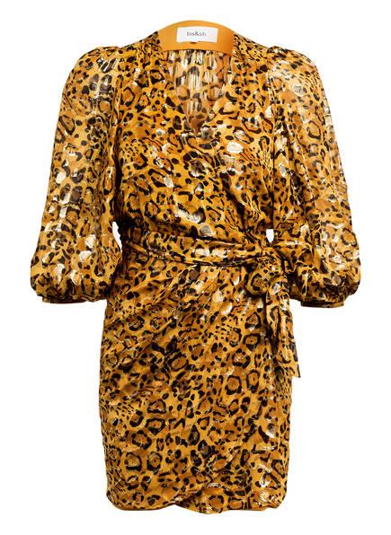 ba&sh Wickelkleid GINGER aus Seide, Farbe: CAMEL/ DUNKELBRAUN/ GOLD (Bild 1)