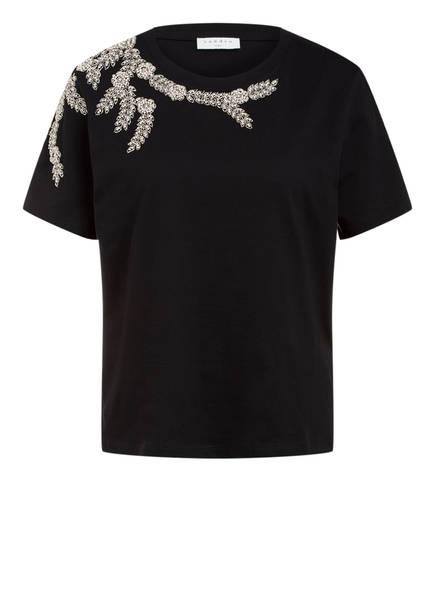 sandro T-Shirt mit Schmucksteinbesatz, Farbe: SCHWARZ (Bild 1)