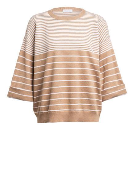 BRUNELLO CUCINELLI Pullover mit Cashmere, Farbe: HELLBRAUN/ WEISS  (Bild 1)