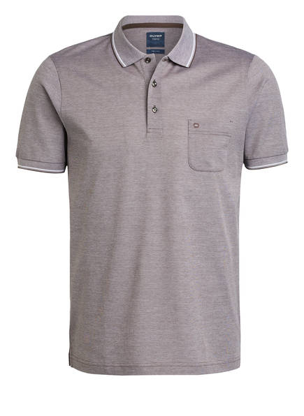 OLYMP Piqué-Poloshirt modern fit , Farbe: BRAUN/ WEISS (Bild 1)