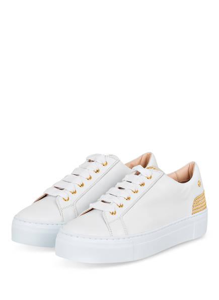 AGL ATTILIO GIUSTI LEOMBRUNI Sneaker mit Nietenbesatz , Farbe: WEISS/ GOLD (Bild 1)