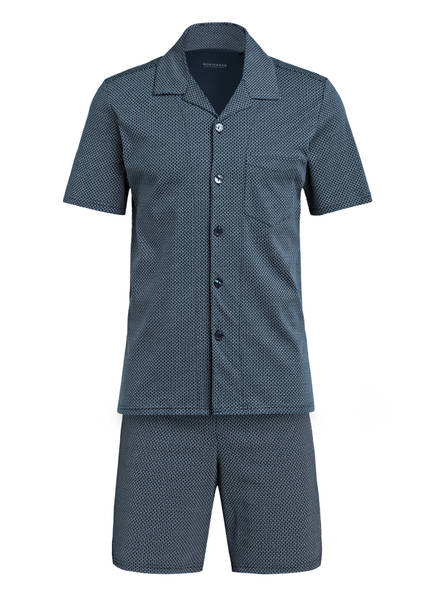 SCHIESSER Shorty-Schlafanzug , Farbe: PETROL/ HELLBLAU/ WEISS (Bild 1)