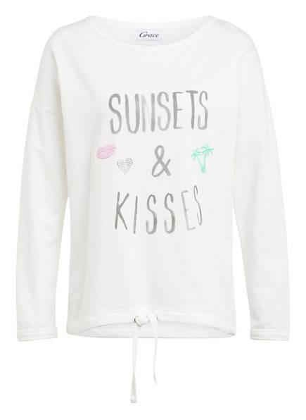 Grace Sweatshirt mit Schmucksteinbesatz, Farbe: WEISS (Bild 1)