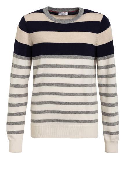 BRUNELLO CUCINELLI Cashmere-Pullover, Farbe: DUNKELBLAU/ CREM GESTREIFT (Bild 1)