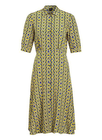ASPESI Hemdblusenkleid aus Seide, Farbe: BLAU/ GELB/ SCHWARZ (Bild 1)