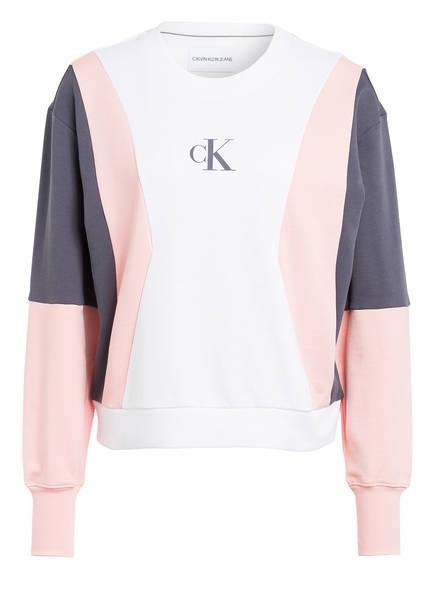 Calvin Klein Jeans Sweatshirt, Farbe: WEISS/ HELLROSA/ DUNKELGRAU (Bild 1)