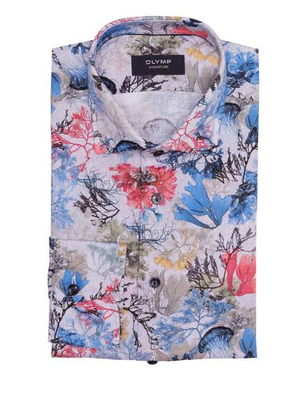 OLYMP SIGNATURE Leinenhemd tailored fit , Farbe: BLAU/ OLIV/ HELLROT (Bild 1)