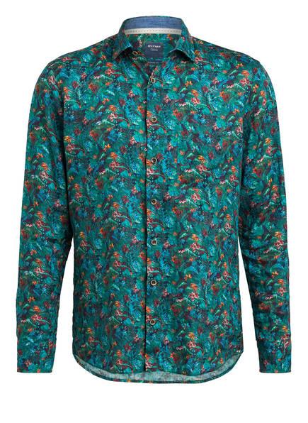 OLYMP Leinenhemd Modern Fit , Farbe: DUNKELGRÜN/ DUNKELBLAU/ ORANGE (Bild 1)