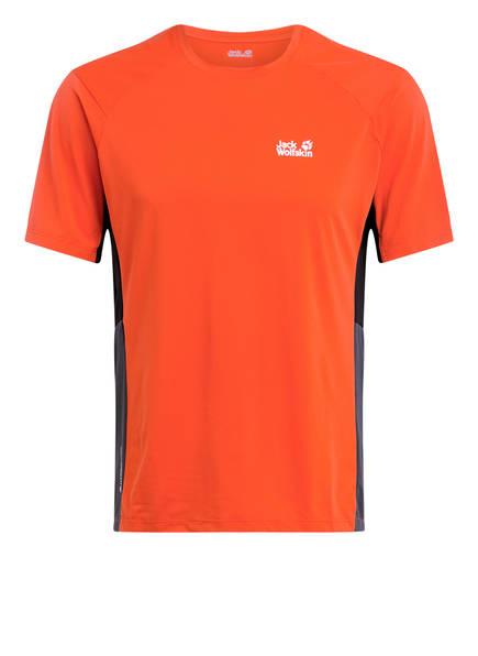 Jack Wolfskin T-Shirt NARROWS, Farbe: ORANGE/ GRAU/ SCHWARZ (Bild 1)