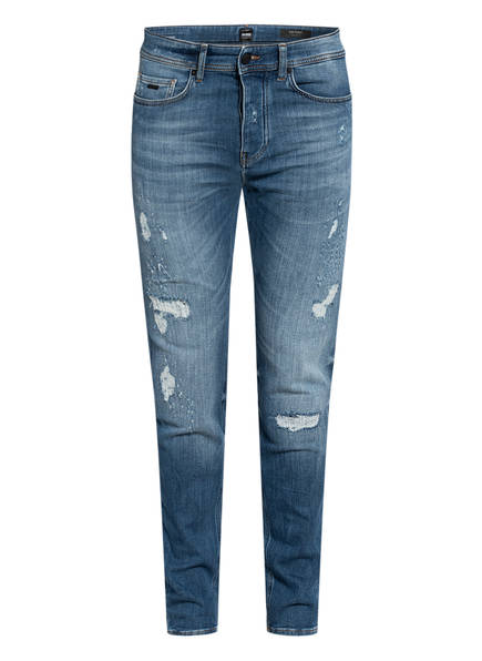 BOSS Destroyed Jeans TABER Tapered Fit, Farbe: 423 MEDIUM BLUE (Bild 1)