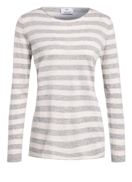 ALLUDE Pullover mit Leinen, Farbe: HELLGRAU/ WEISS GESTREIFT (Bild 1)