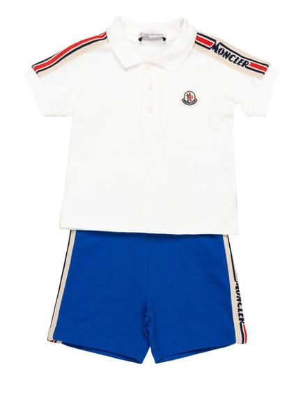 MONCLER enfant Set: Piqué-Poloshirt und Shorts mit Galonstreifen, Farbe: WEISS/ BLAU (Bild 1)