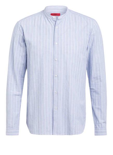 HUGO Hemd EDDISON Comfort Fit mit Stehkragen, Farbe: HELLBLAU/ WEISS GESTREIFT (Bild 1)