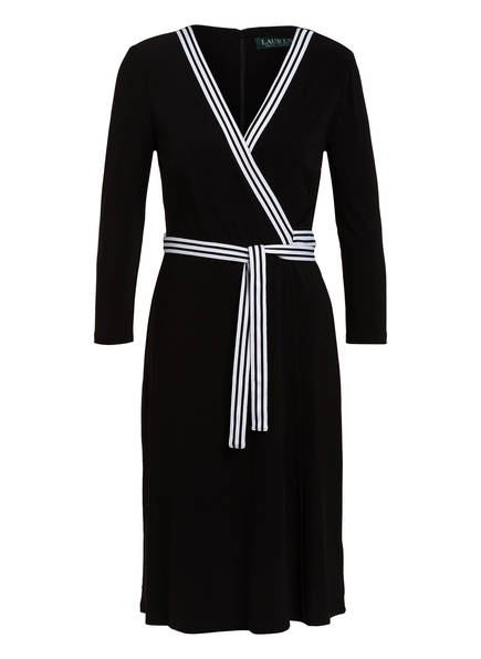 LAUREN RALPH LAUREN Kleid in Wickeloptik mit 3/4-Arm, Farbe: SCHWARZ (Bild 1)