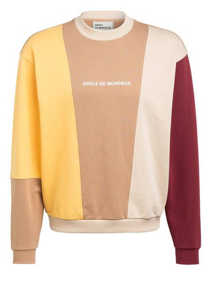 DRÔLE DE MONSIEUR Sweatshirt, Farbe: HELLBRAUN/ CREME/ DUNKELROT (Bild 1)