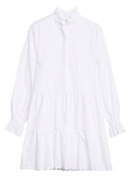 EVA MANN Kleid mit Lochstickerei, Farbe: WEISS (Bild 1)