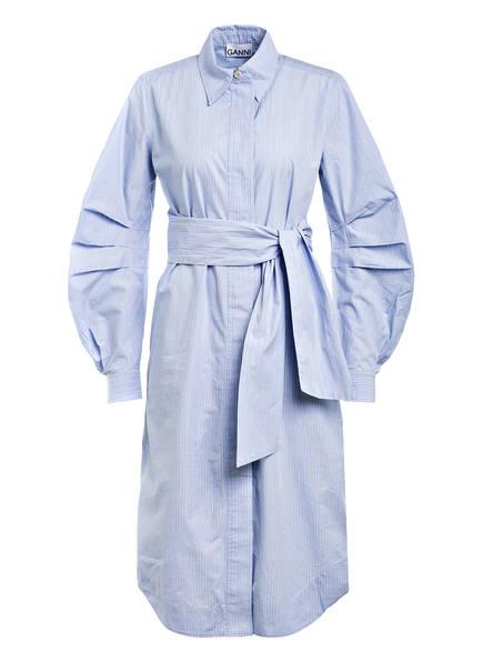 GANNI Hemdblusenkleid , Farbe: HELLBLAU/ WEISS GESTREIFT (Bild 1)