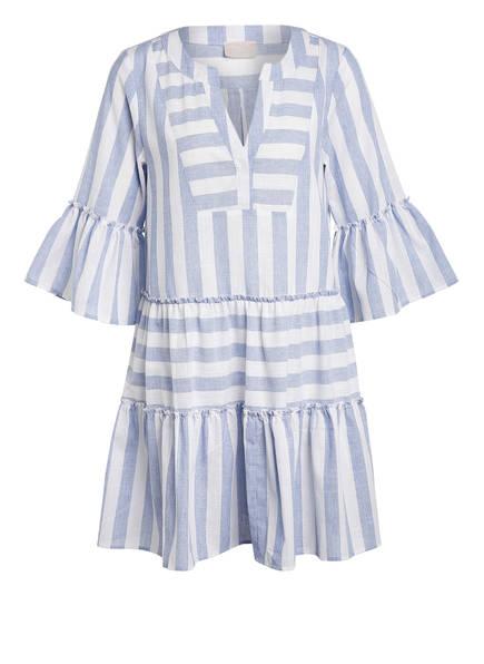 Mrs & HUGS Kleid mit 3/4-Arm und Volantbesatz, Farbe: HELLBLAU/ WEISS GESTREIFT (Bild 1)