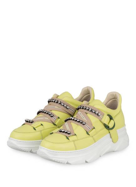 181 Plateau-Sneaker MACIS mit Schmucksteinbesatz, Farbe: GELB (Bild 1)