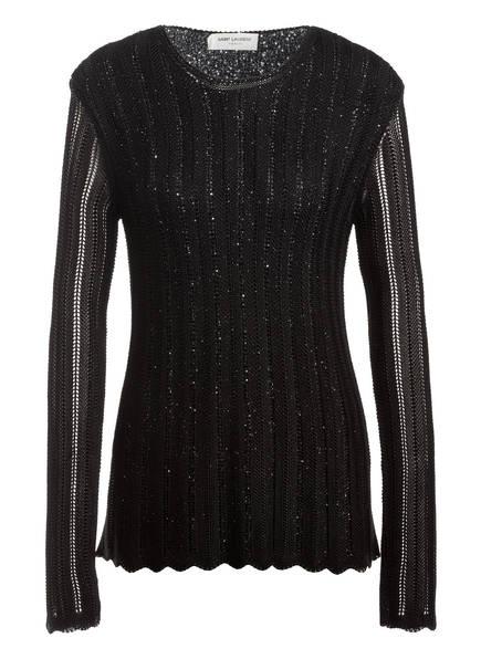 SAINT LAURENT Pullover mit Paillettenbesatz, Farbe: SCHWARZ (Bild 1)